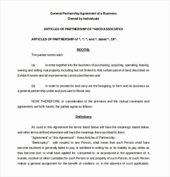 Business Partnership Agreement Template Elegant 18 Partnership Agreement Templates – Free Sample Example