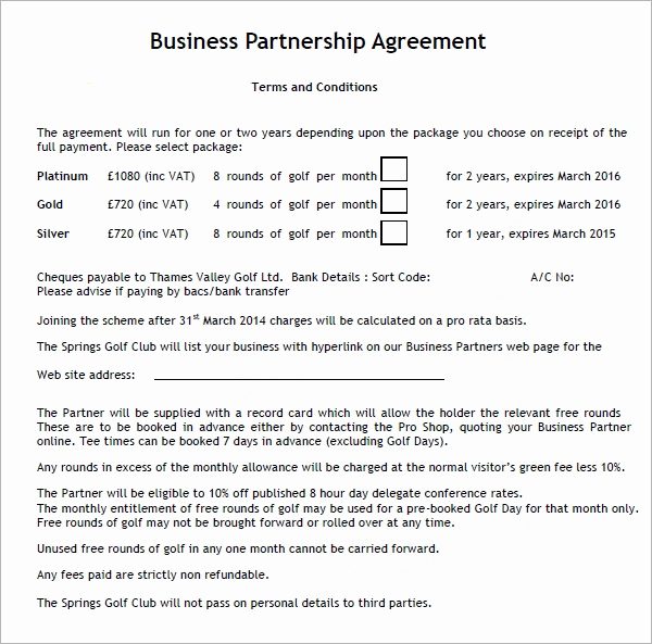 Business Partnership Agreement Template Elegant Business Partnership Agreement 12 Download Documents In