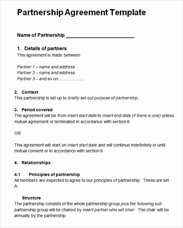 Business Partnership Agreement Template Fresh Sample Partnership Agreement 13 Free Documents Download