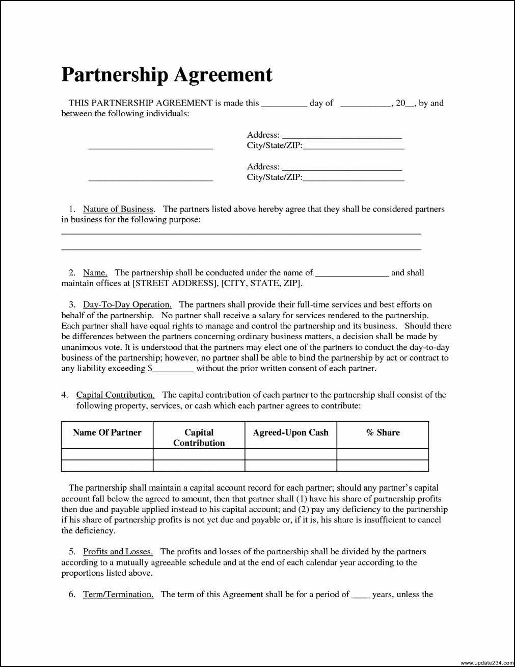 Business Partnership Agreement Template Fresh Simple Partnership Agreement Template Template Update234