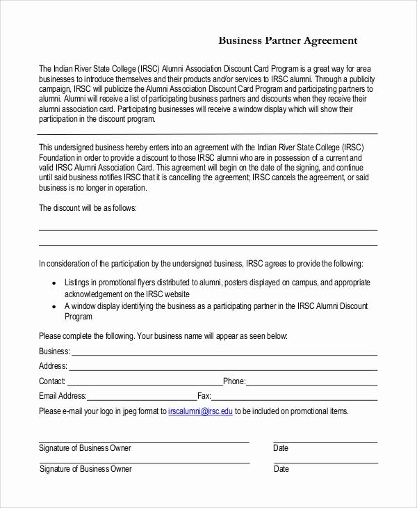 Business Partnership Agreement Template Inspirational 7 Sample Business Partnership Agreements Pdf Doc