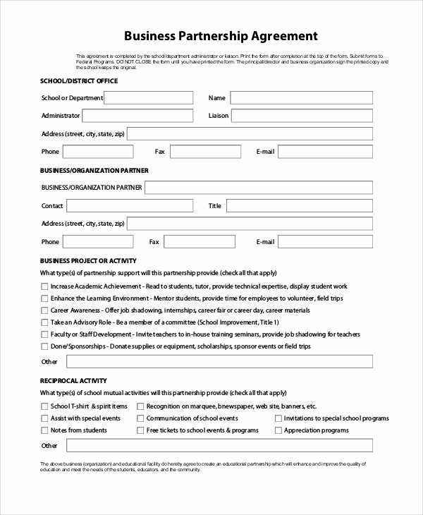 Business Partnership Agreement Template Inspirational 9 Sample Partnership Agreements