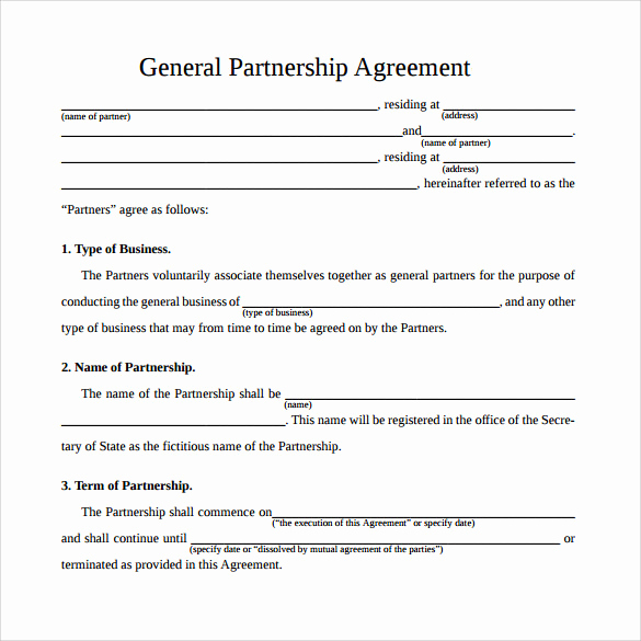 Business Partnership Agreement Template Inspirational Sample General Partnership Agreement 11 Documents In