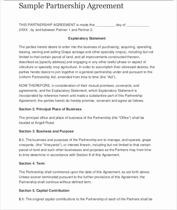 Business Partnership Agreement Template New 41 Business Agreement Samples