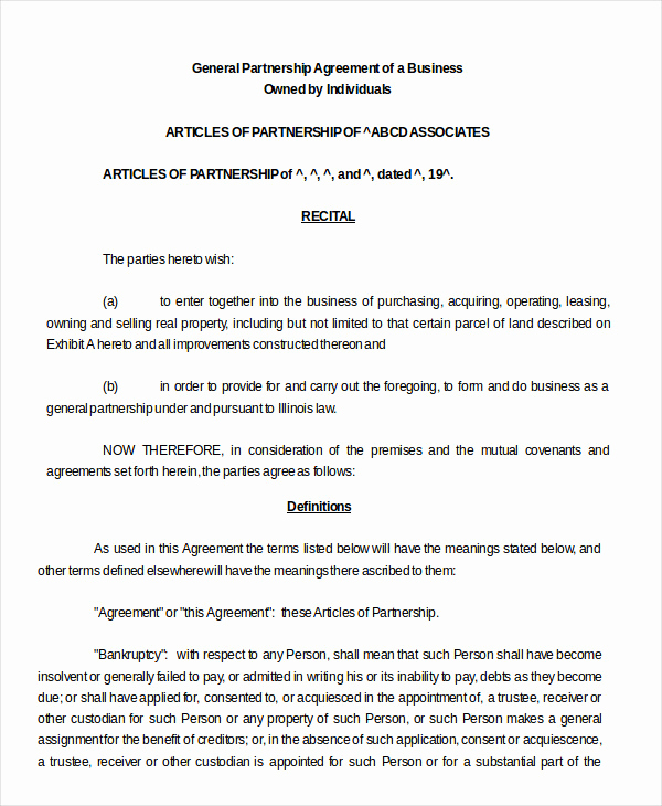 Business Partnership Agreement Template New Partnership Agreement 20 Free Word Pdf Documents