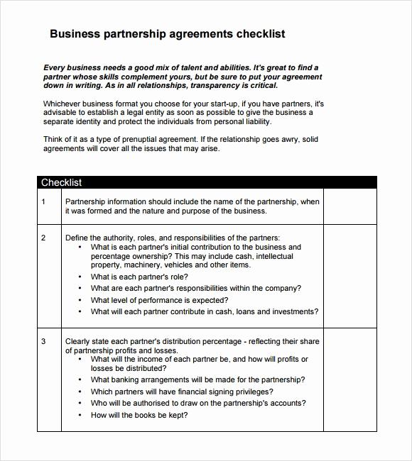Business Partnership Agreement Template Unique 10 Sample Business Partnership Agreements