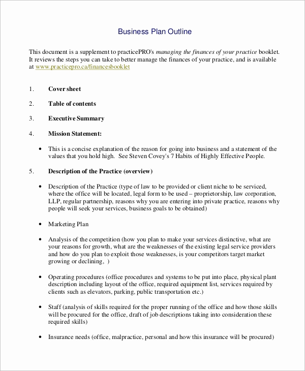 Business Plan Outline Pdf Awesome Sample Business Plan Outline 20 Examples In Word Pdf