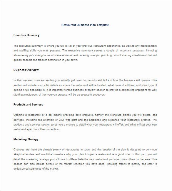Business Plan Outline Pdf Beautiful Restaurant Business Plan Template 21 Word Excel Pdf