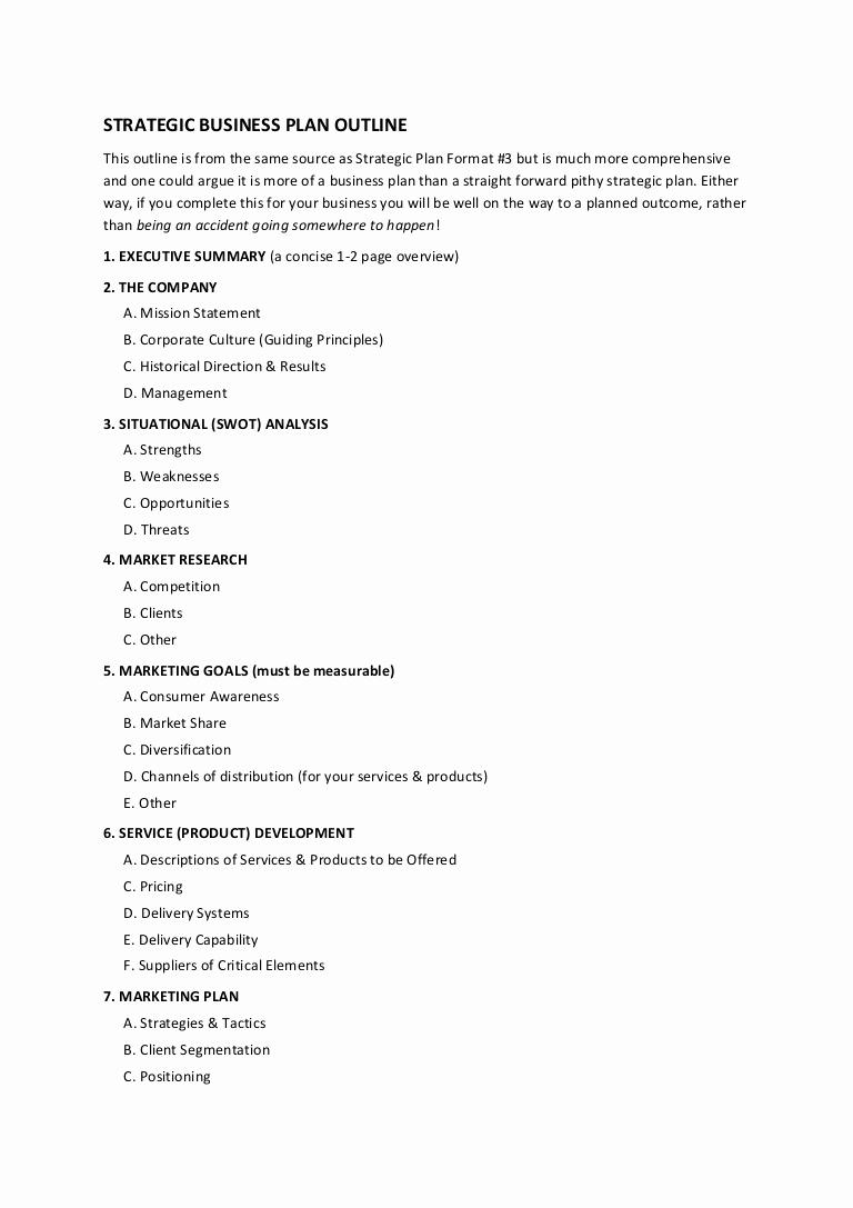 Business Plan Outline Pdf Unique 12 Strategic Business Plan Outline