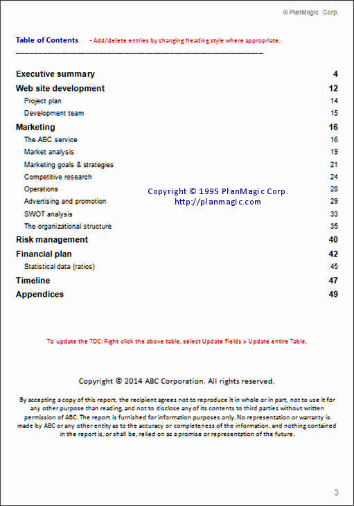 Business Plan Table Of Contents Fresh Line Business Plan Table Of Contents