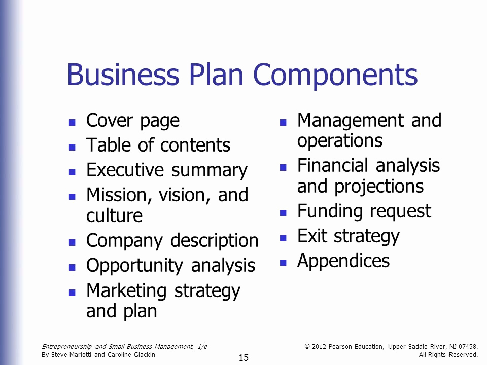 Business Plan Table Of Contents Luxury Entrepreneurship and Small Business Management Ppt Video