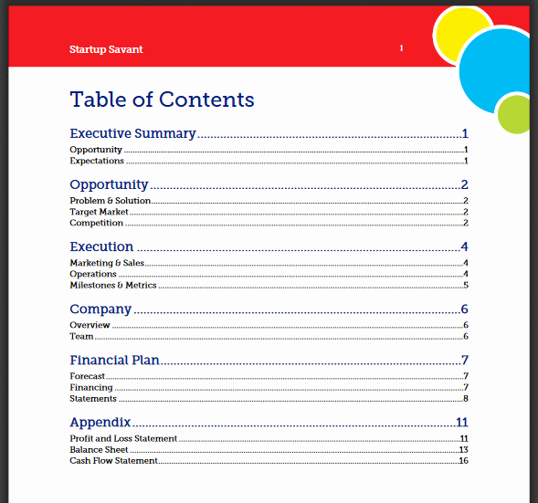 Business Plan Table Of Contents Unique How to Write A Business Plan A Quick Guide