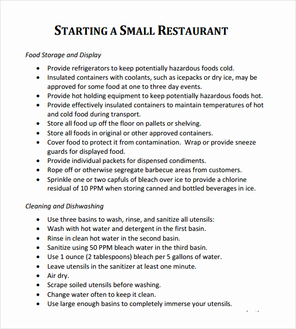 Business Plan Template Examples Fresh Restaurant Business Plan Template 7 Download Free