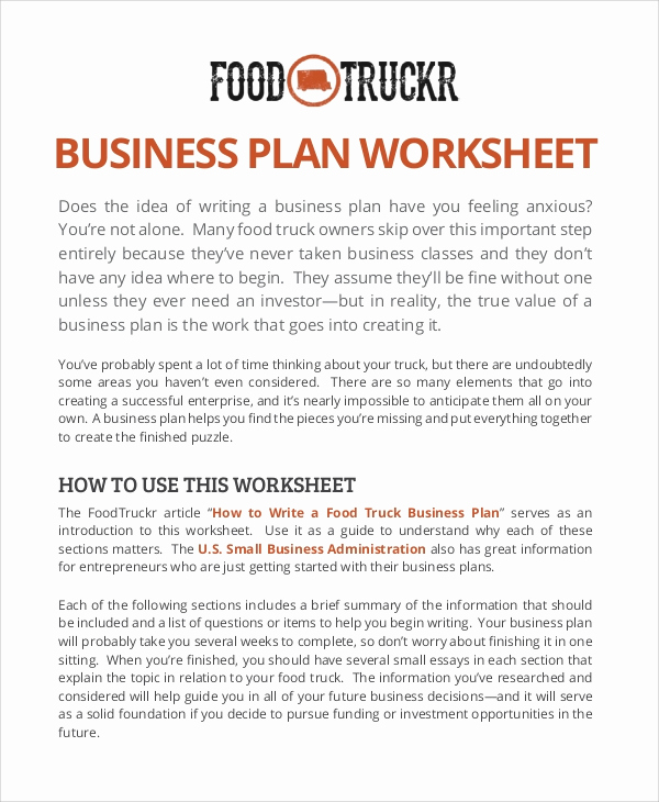 Business Plan Template Examples Lovely 11 Sample Food Truck Business Plans – Pdf Word Pages