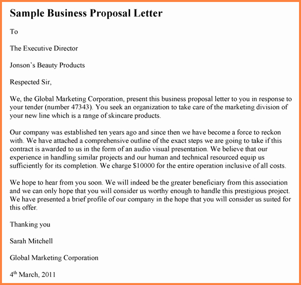 Business Proposal Sample Letter Fresh 6 Drafting Business Proposal