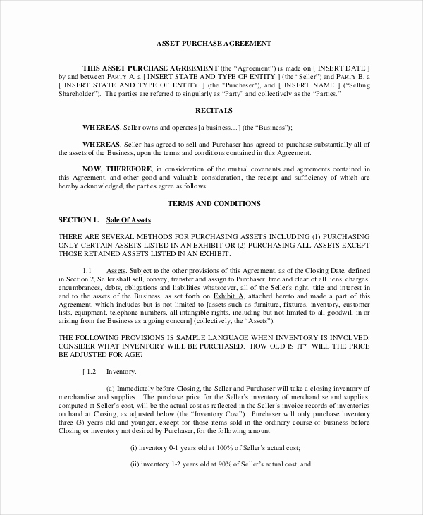 Business Sale Agreement Pdf Beautiful asset Purchase Agreement 11 Free Word Pdf Documents