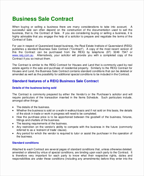 Business Sale Agreement Pdf Inspirational Sample Sales Contract 9 Documents In Pdf Word