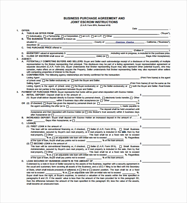 Business Sale Agreement Pdf Lovely Sample Business Sale Agreement 8 Free Documents
