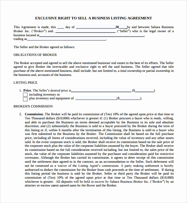 Business Sale Agreement Pdf New Sample Business Sale Agreement 8 Free Documents
