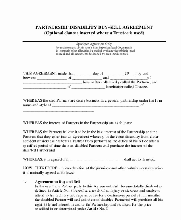 Buy Sell Agreement Template Beautiful 11 Partnership Agreement form Samples Free Sample
