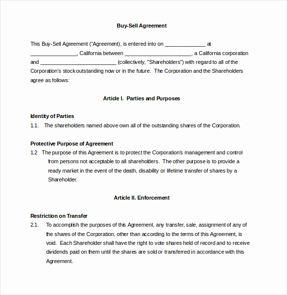 Buy Sell Agreement Template Beautiful 25 Buy Sell Agreement Templates Word Pdf