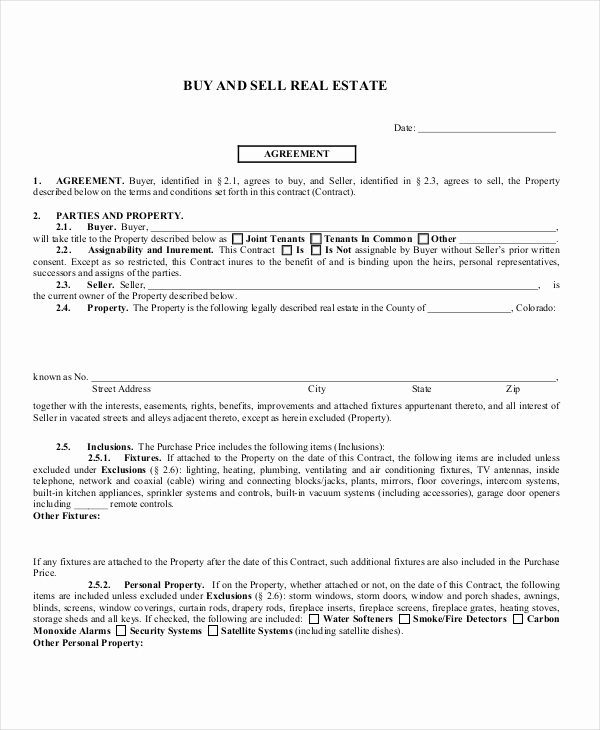 Buy Sell Agreement Template Elegant Sample Real Estate Agreement form 8 Free Documents In Pdf