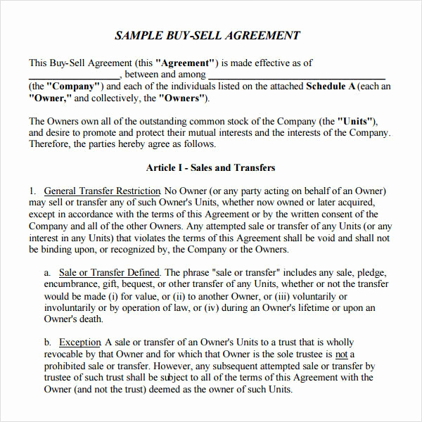 Buy Sell Agreement Template Lovely Buy and Sell Agreement Template Templates Resume