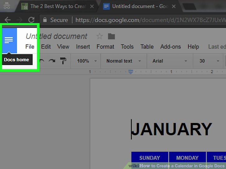 Calendar Template for Google Docs Luxury the 2 Best Ways to Create A Calendar In Google Docs Wikihow