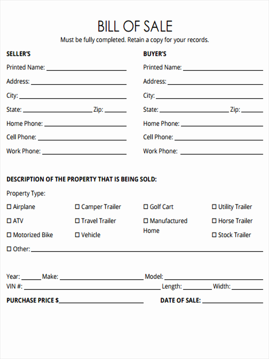 Camper Bill Of Sale Best Of 5 Horse Bill Of Sale forms Free Sample Example format