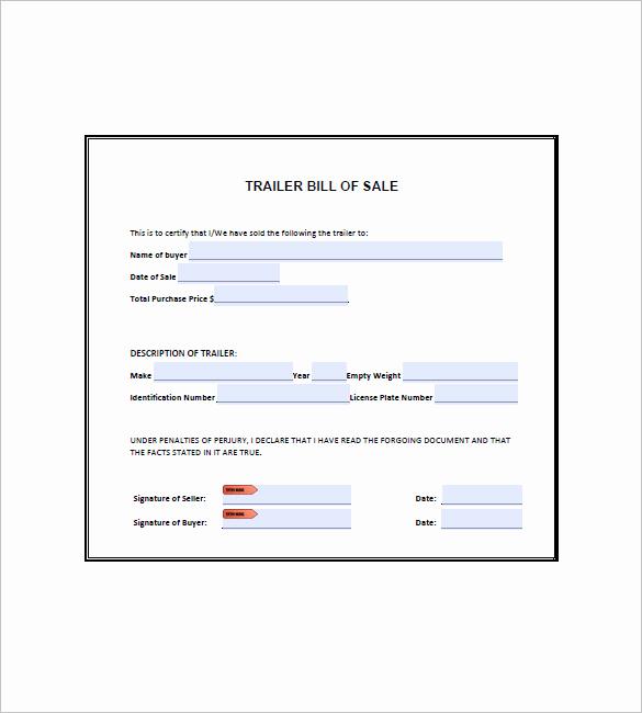 Camper Bill Of Sale Elegant Trailer Bill Of Sale – 8 Free Word Excel Pdf format