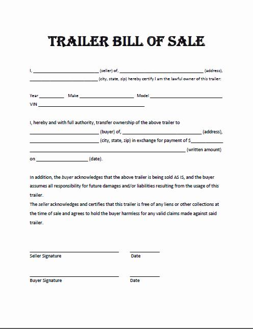 Camper Bill Of Sale Elegant Trailer Bill Sale