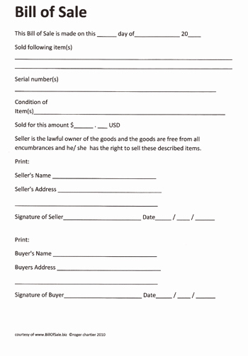 Camper Bill Of Sale Inspirational Free Printable Rv Bill Of Sale form form Generic
