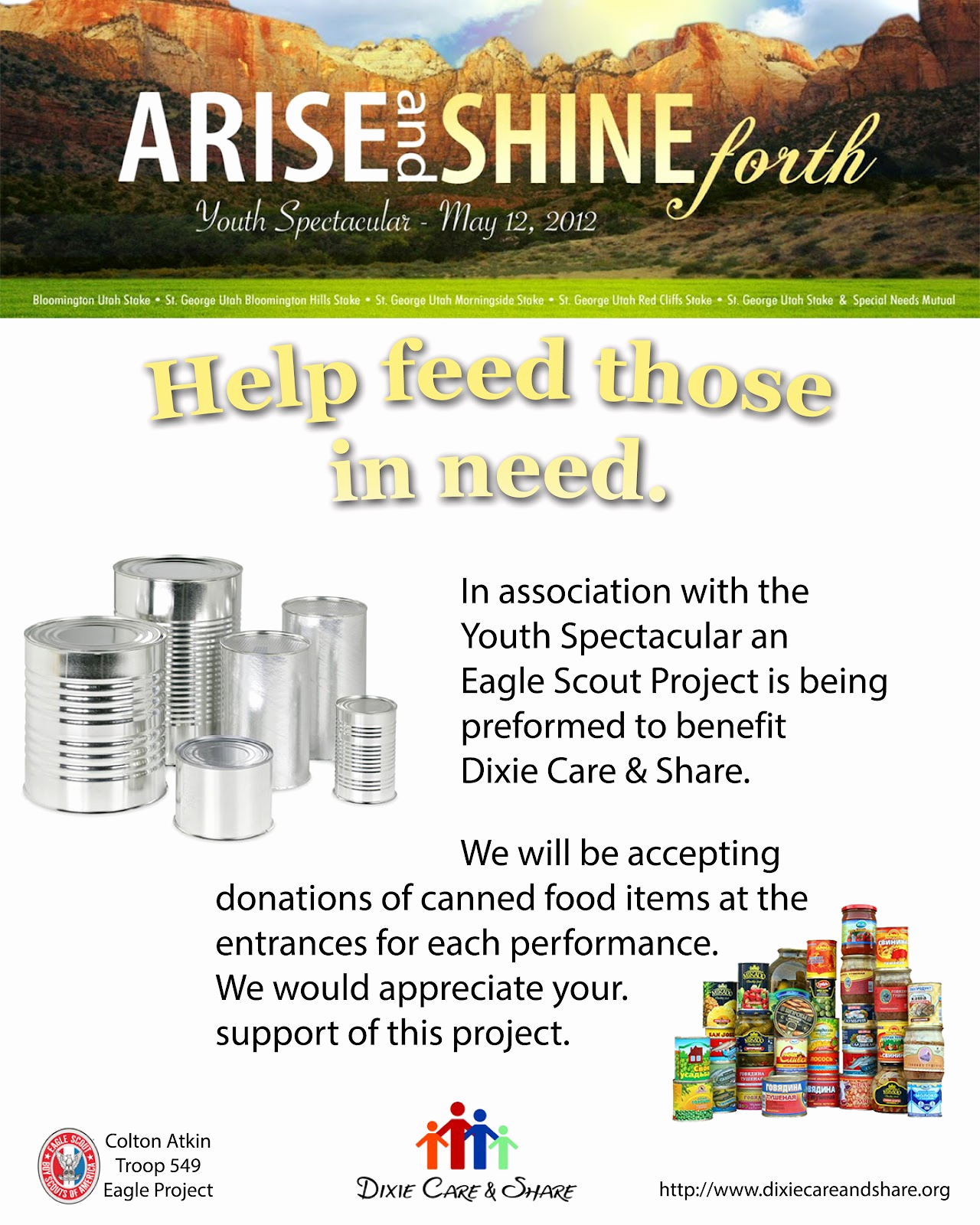 Can Food Drive Flyer Awesome Arise & Shine forth 2012 Youth Spectacular Updated Flyer