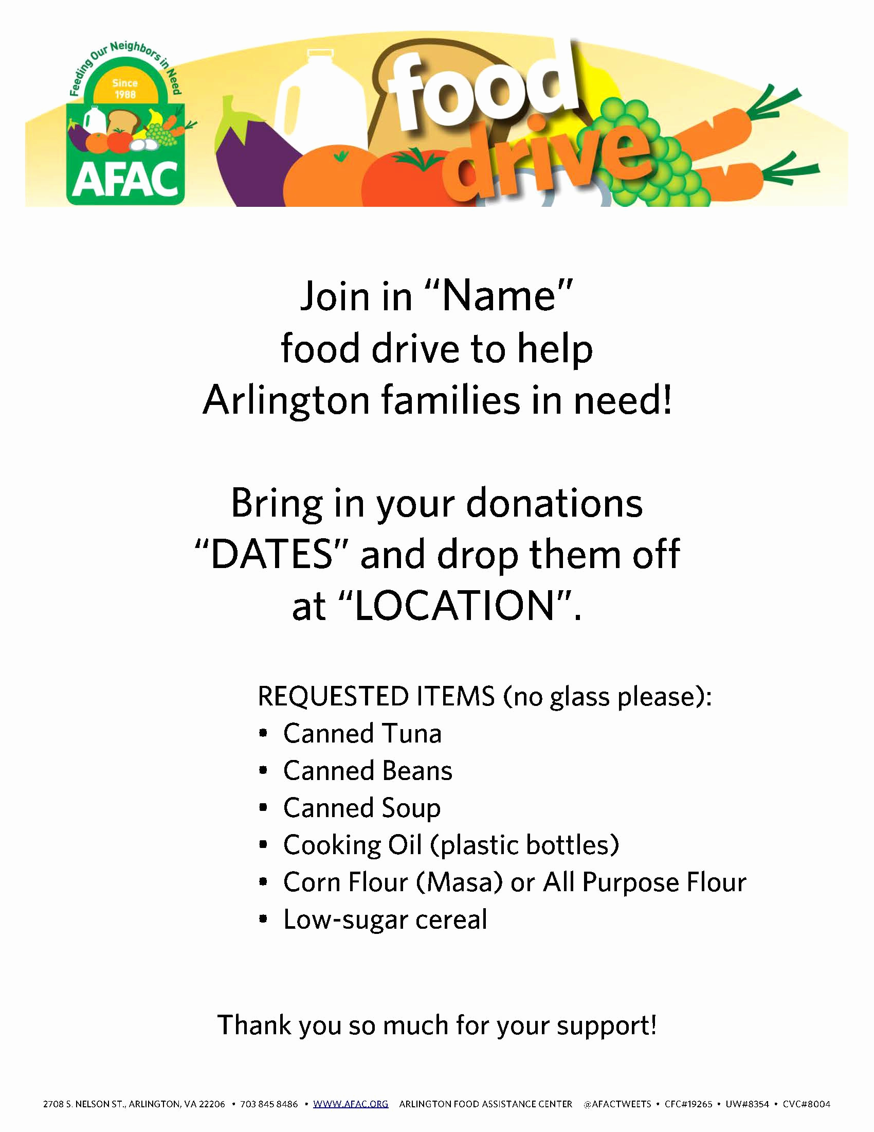 Can Food Drive Flyer Awesome Flyers Afac