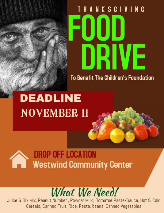 Can Food Drive Flyer Awesome Food Drive Template