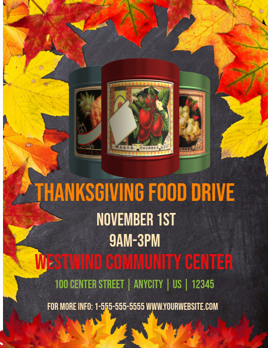 Can Food Drive Flyer Fresh Thanksgiving Food Drive Template