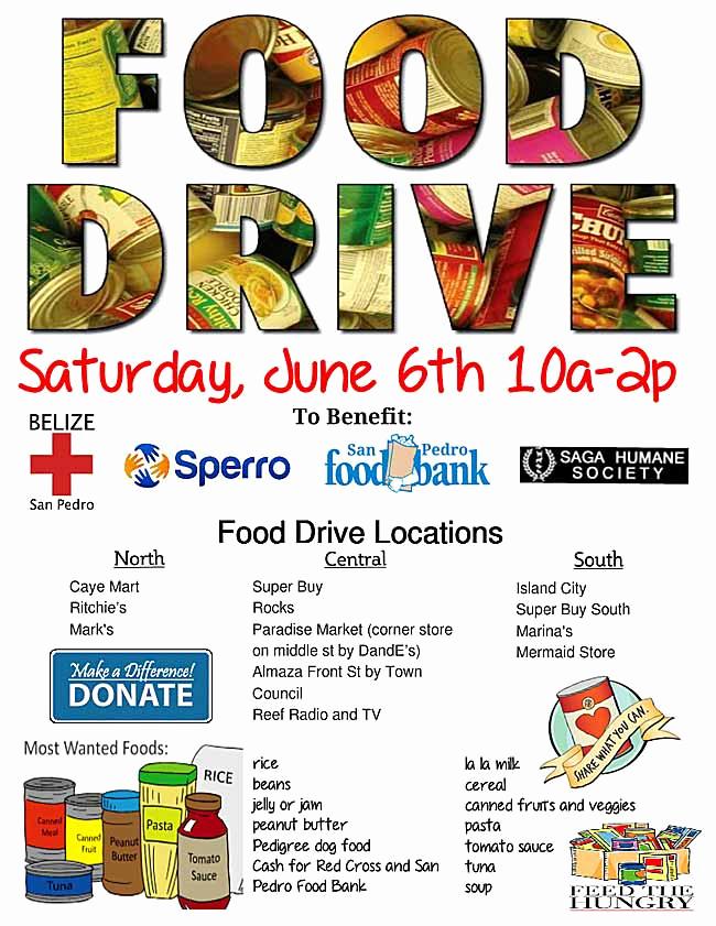 Can Food Drive Flyer Lovely Food Drive June 6 Ambergris Caye Belize Message Board