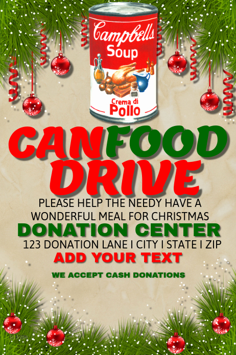 Can Food Drive Flyer New Can Food Drive Template