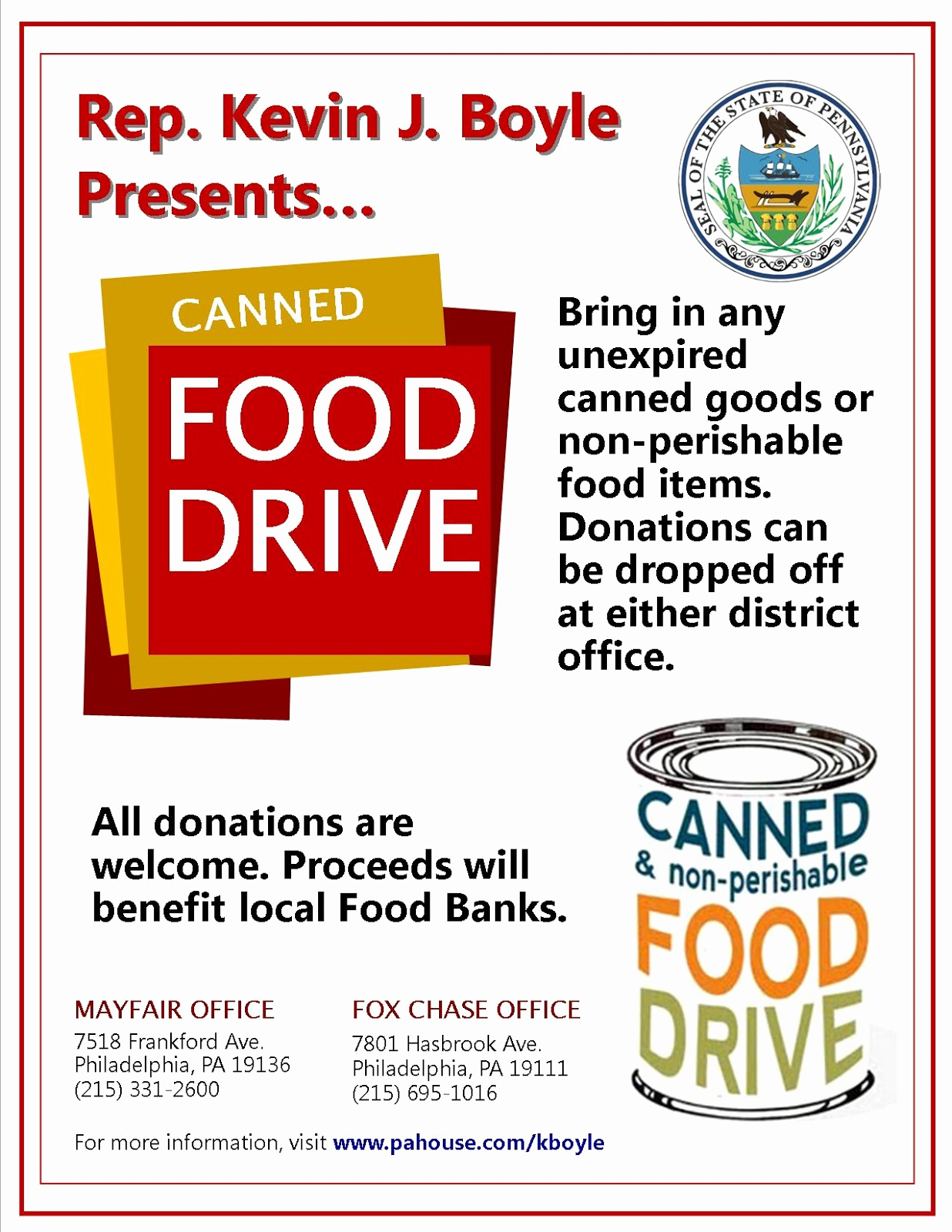 Canned Food Drive Flyer Beautiful Mayfair Civic association December 2012
