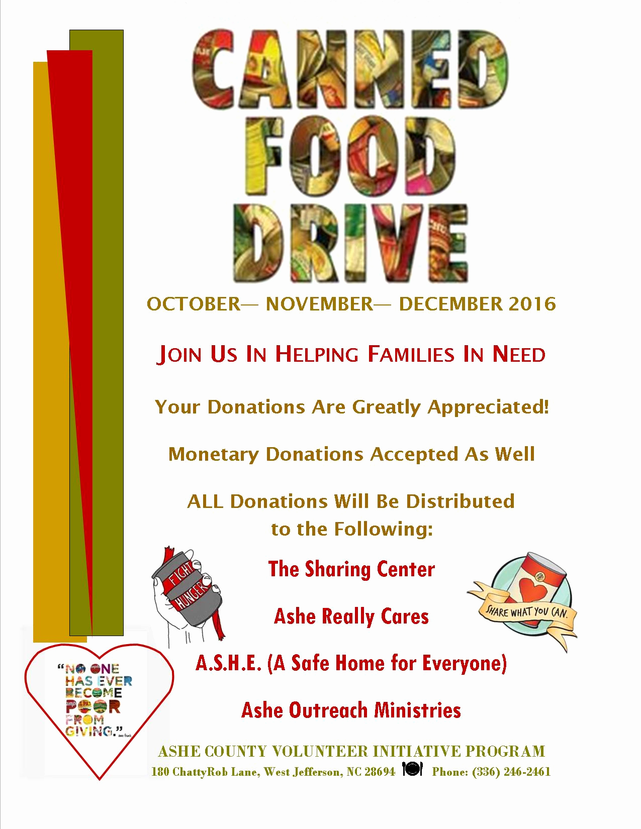 Canned Food Drive Flyer Best Of ashe Services for Aging ashe Nc