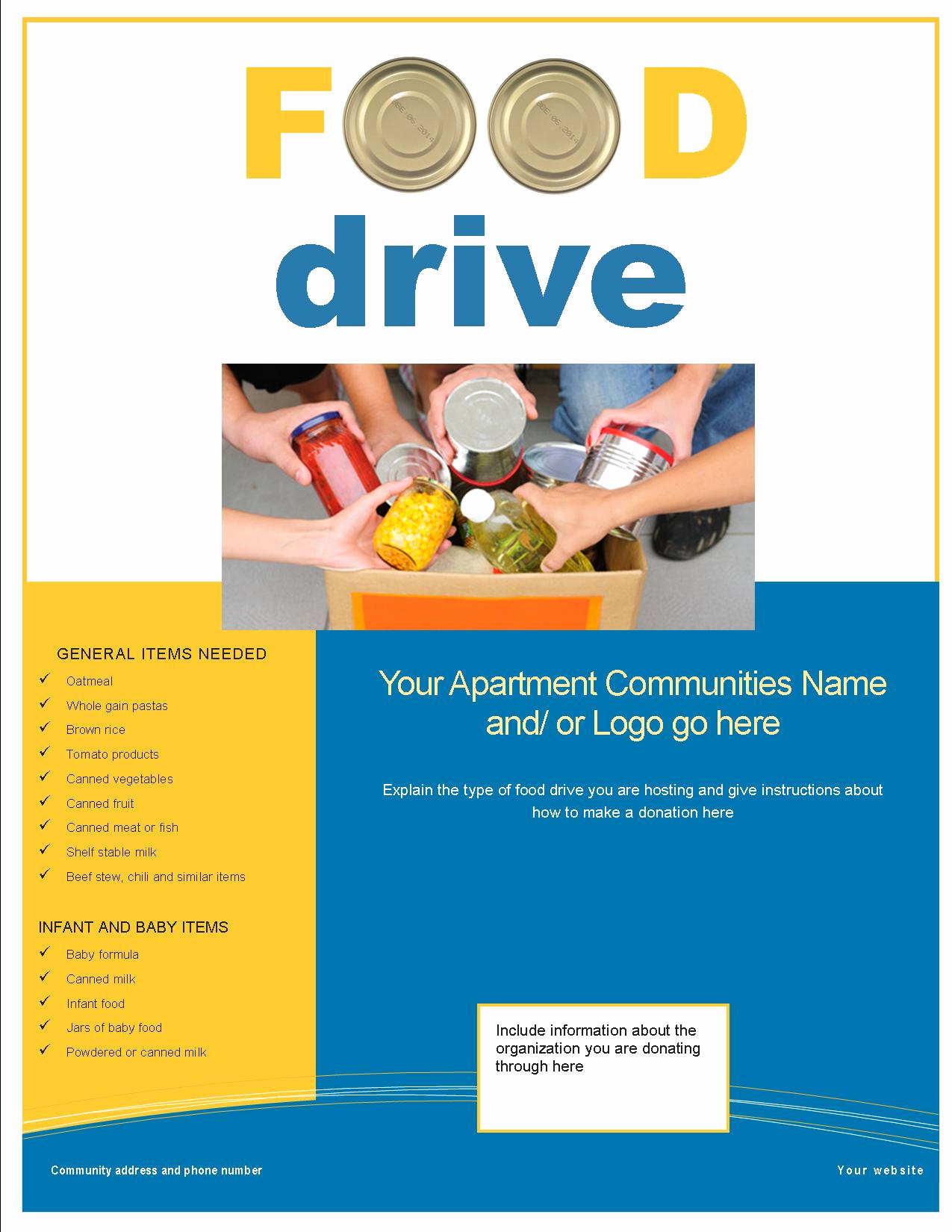 Canned Food Drive Flyer New 3 Great Feel Good Resident Activities