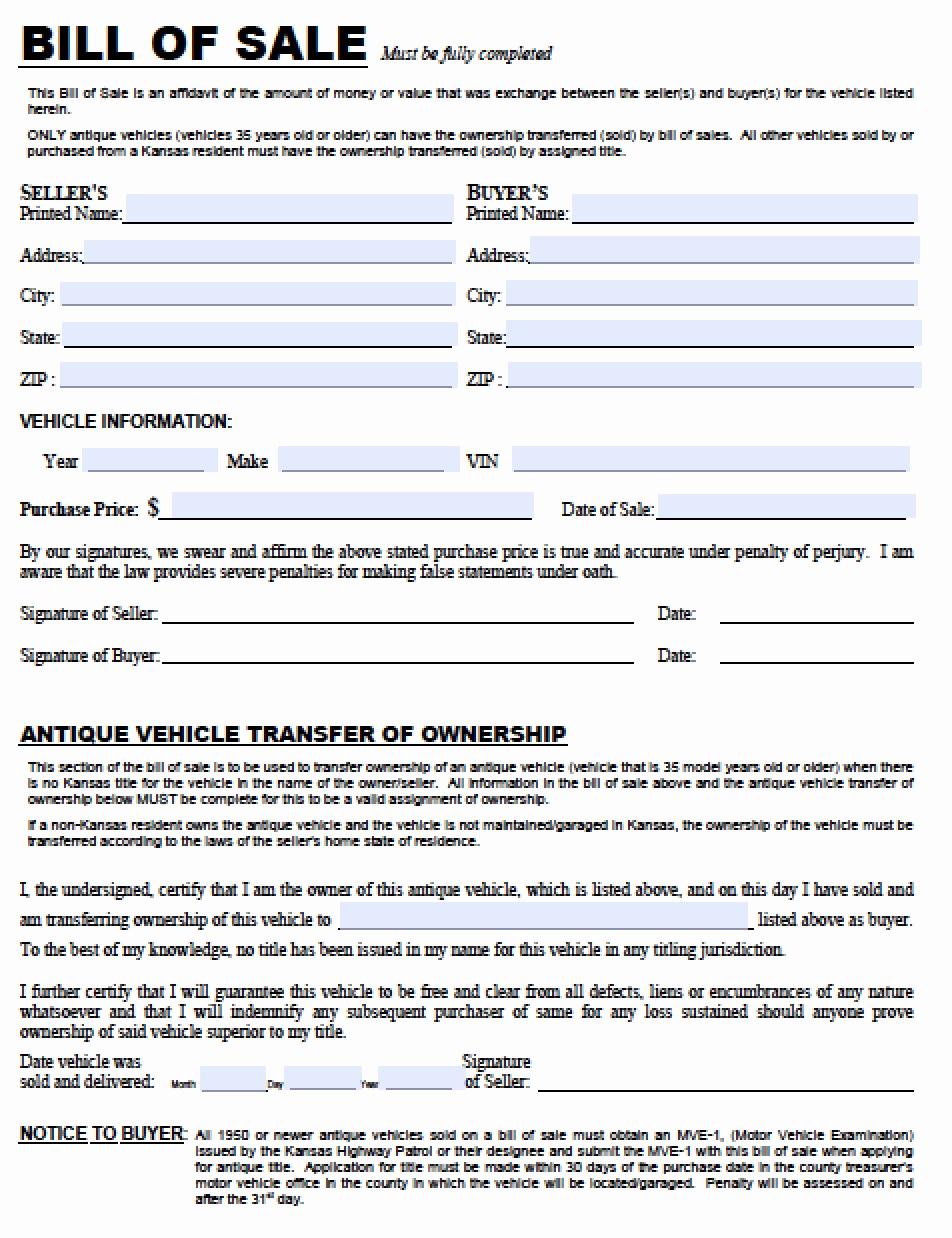Car Bill Of Sale form Beautiful Free Kansas Dmv Vehicle Bill Of Sale Tr 12 form