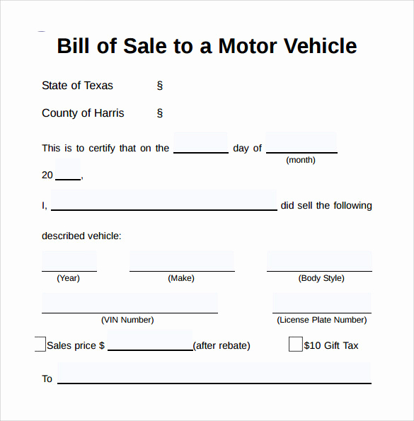 Car Bill Of Sale form Beautiful Sample Vehicle Bill Of Sale form 8 Download Free
