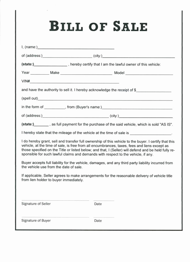 Car Bill Of Sale form Fresh Free Printable Car Bill Of Sale form Generic