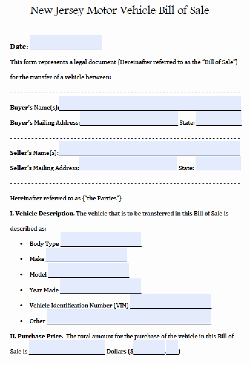 Car Bill Of Sale form Luxury Free New Jersey Motor Vehicle Car Auto Bill Of Sale form