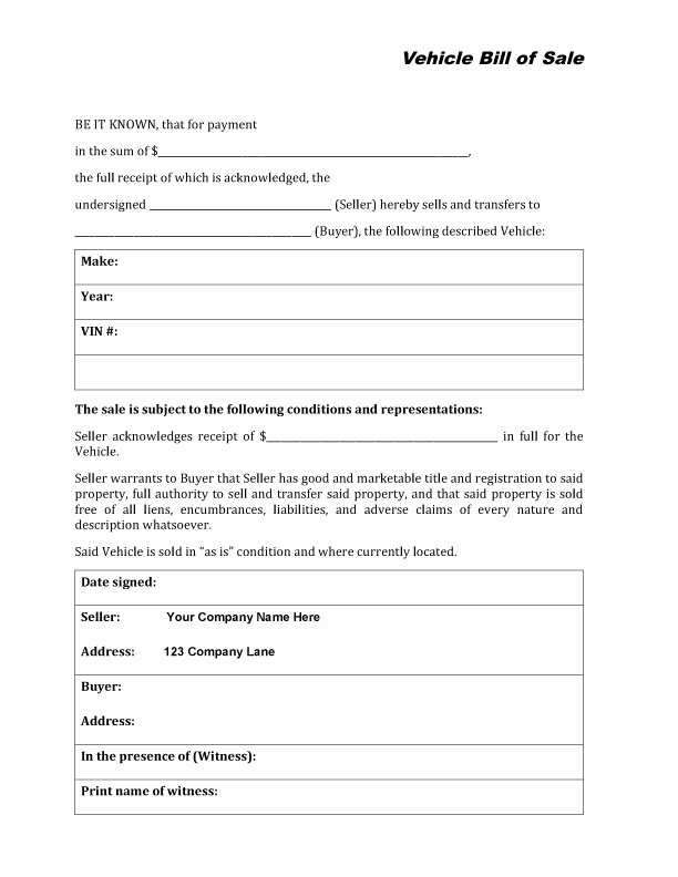 Car Bill Of Sale form New Free Printable Auto Bill Of Sale form Generic
