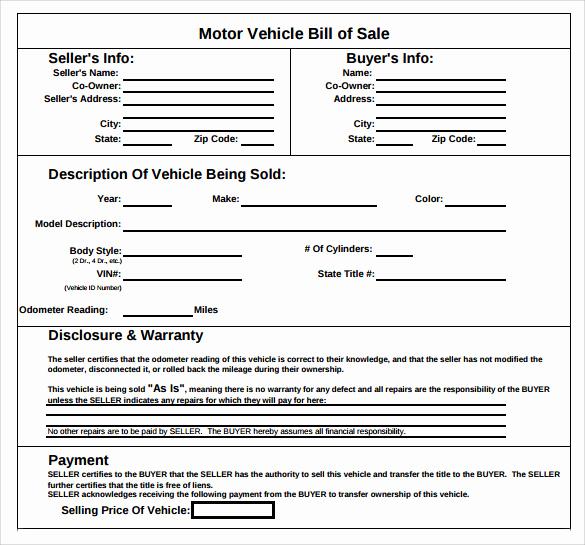 Car Bill Of Sale Pdf Best Of Sample Vehicle Bill Of Sale form 8 Download Free