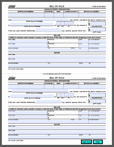 Car Bill Of Sale Pdf Lovely California Vehicle Bill Of Sale form