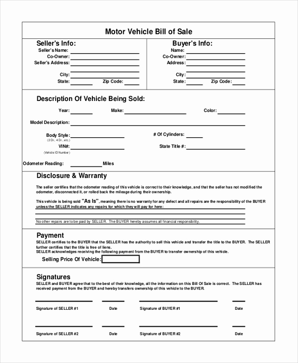 Car Bill Of Sale Pdf Lovely Vehicle Bill Of Sale Template 14 Free Word Pdf