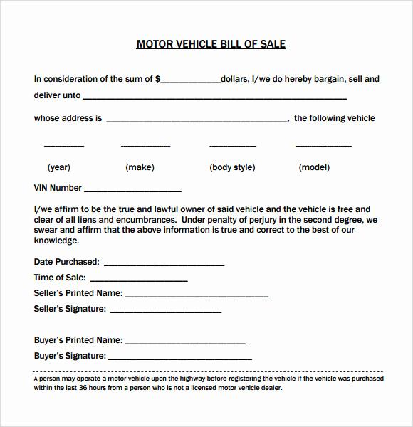 Car Bill Of Sale Pdf Luxury 14 Sample Vehicle Bill Of Sales Pdf Word